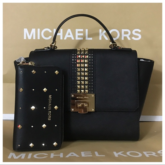 65d9614d1009 Michael Kors Bags | 2pc Nwt Mk Tina Medium Studded Satchel Wallet ...